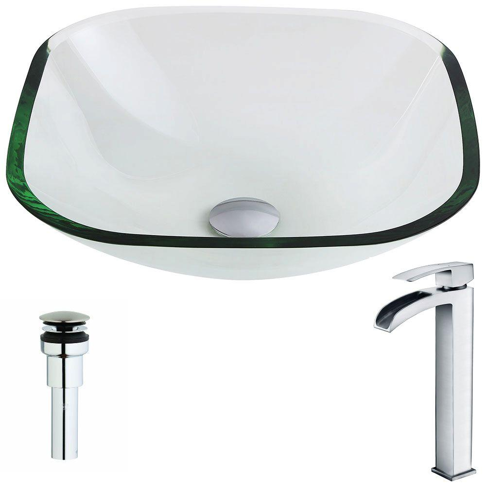 Cadenza Series Deco-Glass Vessel Sink in Lustrous Clear with Key Faucet