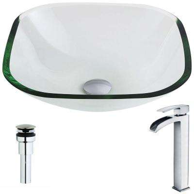 Cadenza Series Deco-Glass Vessel Sink in Lustrous Clear with Key Faucet in Polished Chrome