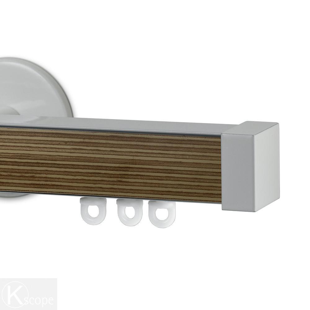 Nexgen 84 in. Non-Adjustable Single Traverse Window Curtain Rod Set with White Endcap in Zebrano Applique