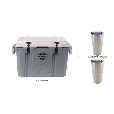 Medium 45 Qt. Chest Cooler in Gray and Two 32 Oz. Stainless Steel Tumblers