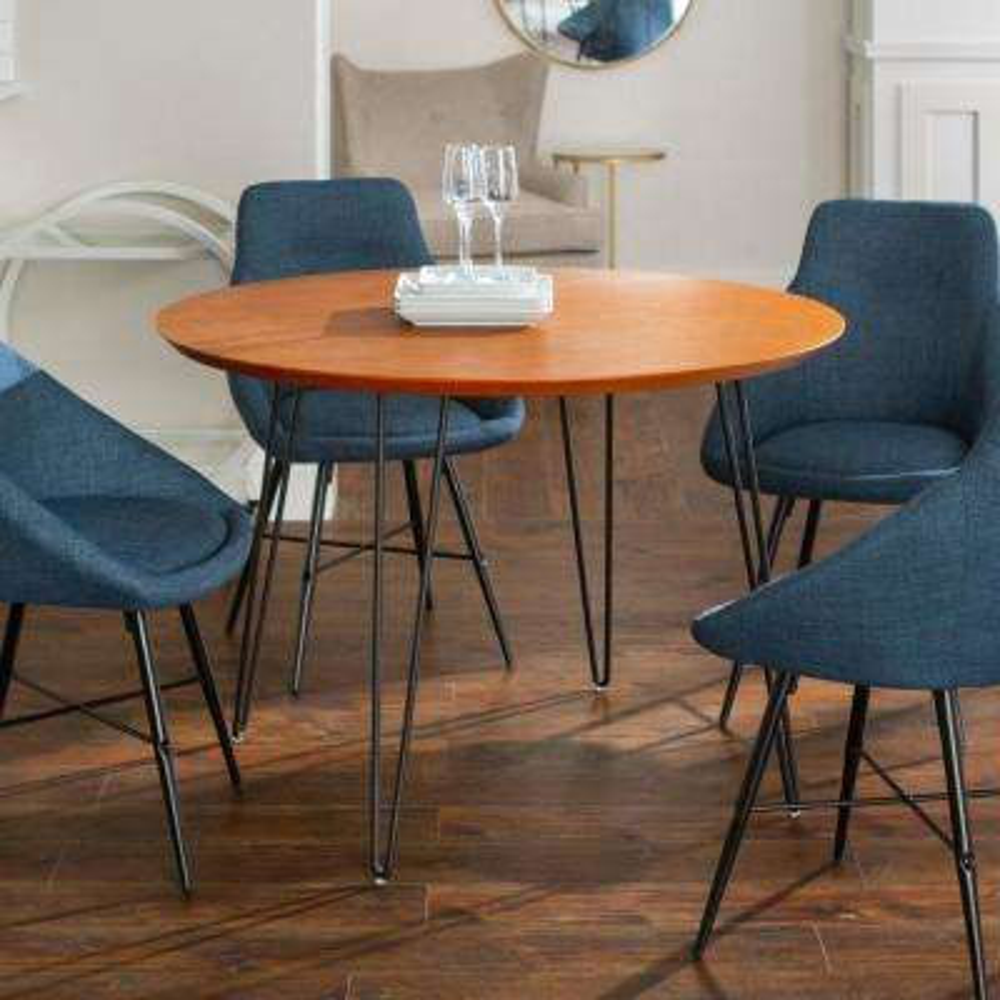 Urban Mid Century Modern Round Hairpin 5-Piece Dining Set - Walnut/Blue