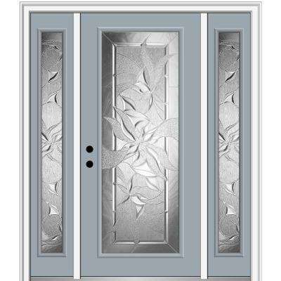 64.5 in. x 81.75 in. Impressions Right-Hand Full-Lite Decorative Painted Fiberglass Prehung Front Door with Sidelites