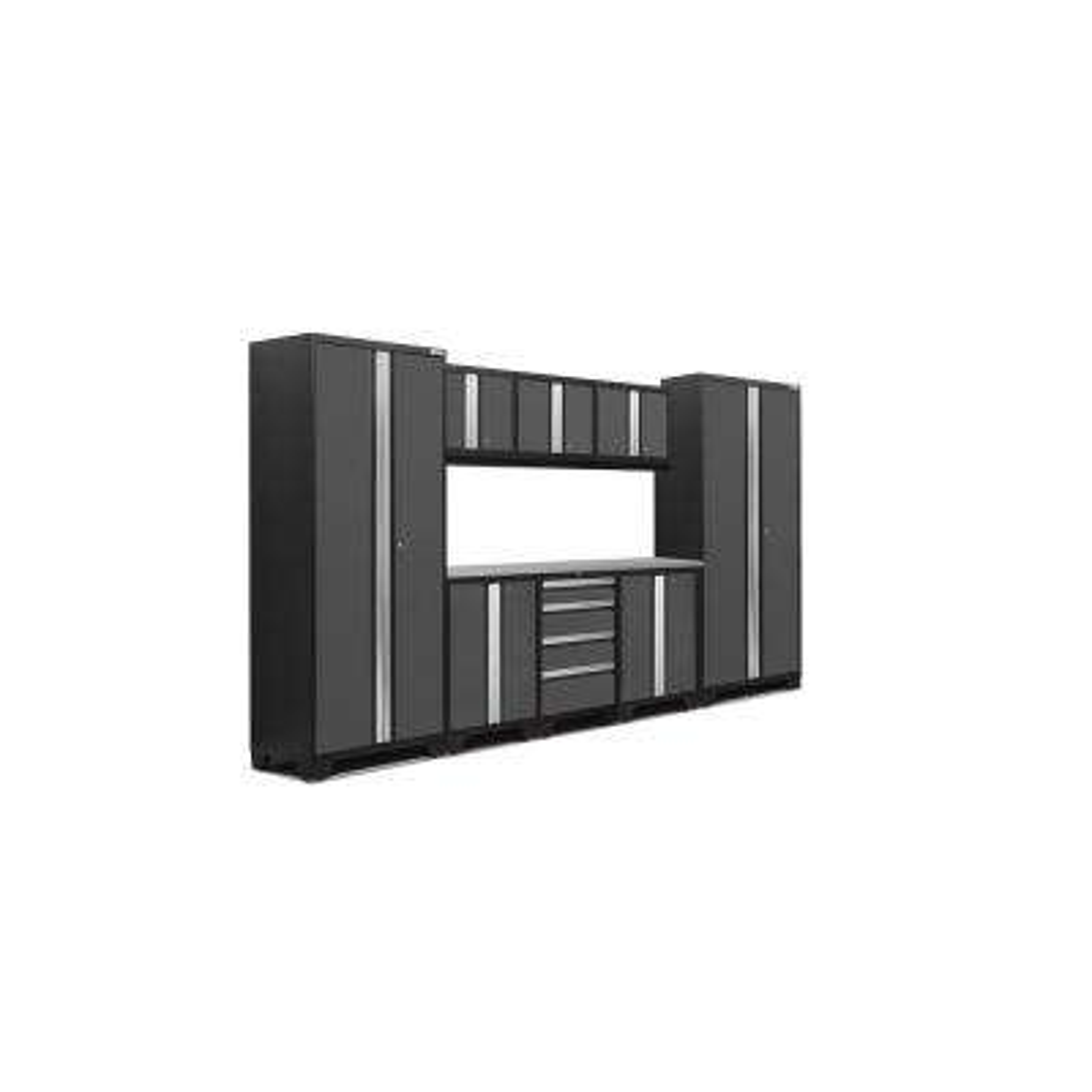Bold 3.0 77 in. H x 132 in. W x 18 in. D 24-Gauge Welded Steel Stainless Steel Worktop Cabinet Set in Gray (9-Piece)