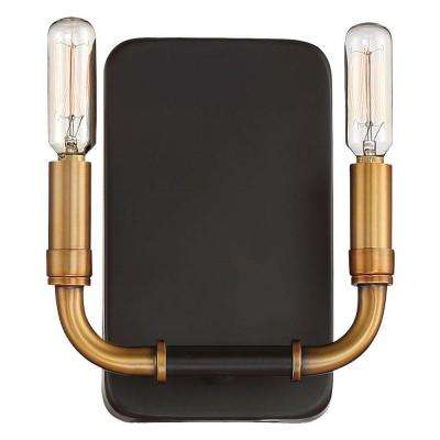 Liege 2-Light Aged Kinston Bronze with Brass Highlights Sconce Light