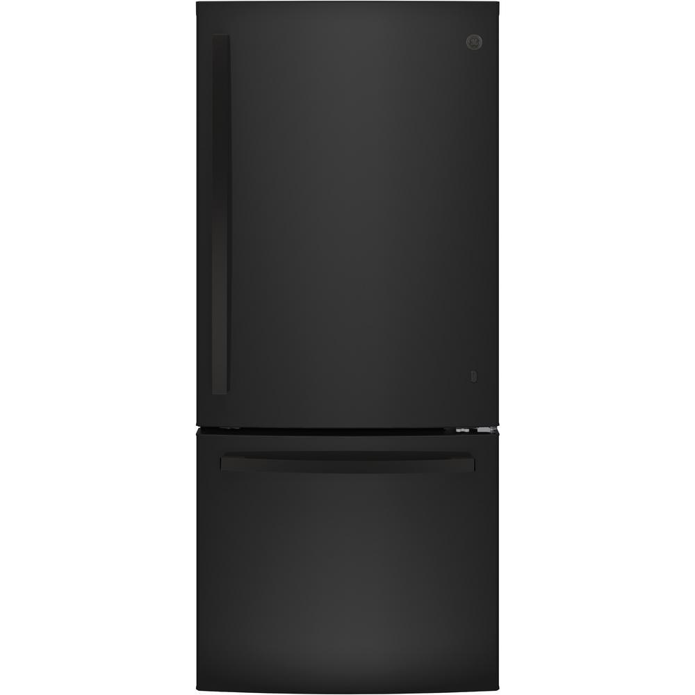 GE 21 cu. ft. Bottom Freezer Refrigerator in Black, ENERGY STAR
