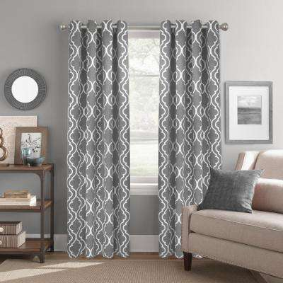 "Room Darkening Trellis Grey Grommet Curtain Panel 52"" W x 84"" L"