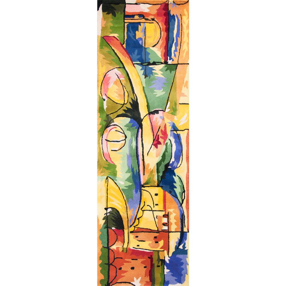 Abstract City Multi 2 ft. x 8 ft. Runner Rug