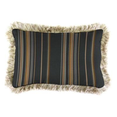 Sunbrella 9 in. x 22 in. Stanton Greystone Lumbar Outdoor Pillow with Canvas Fringe