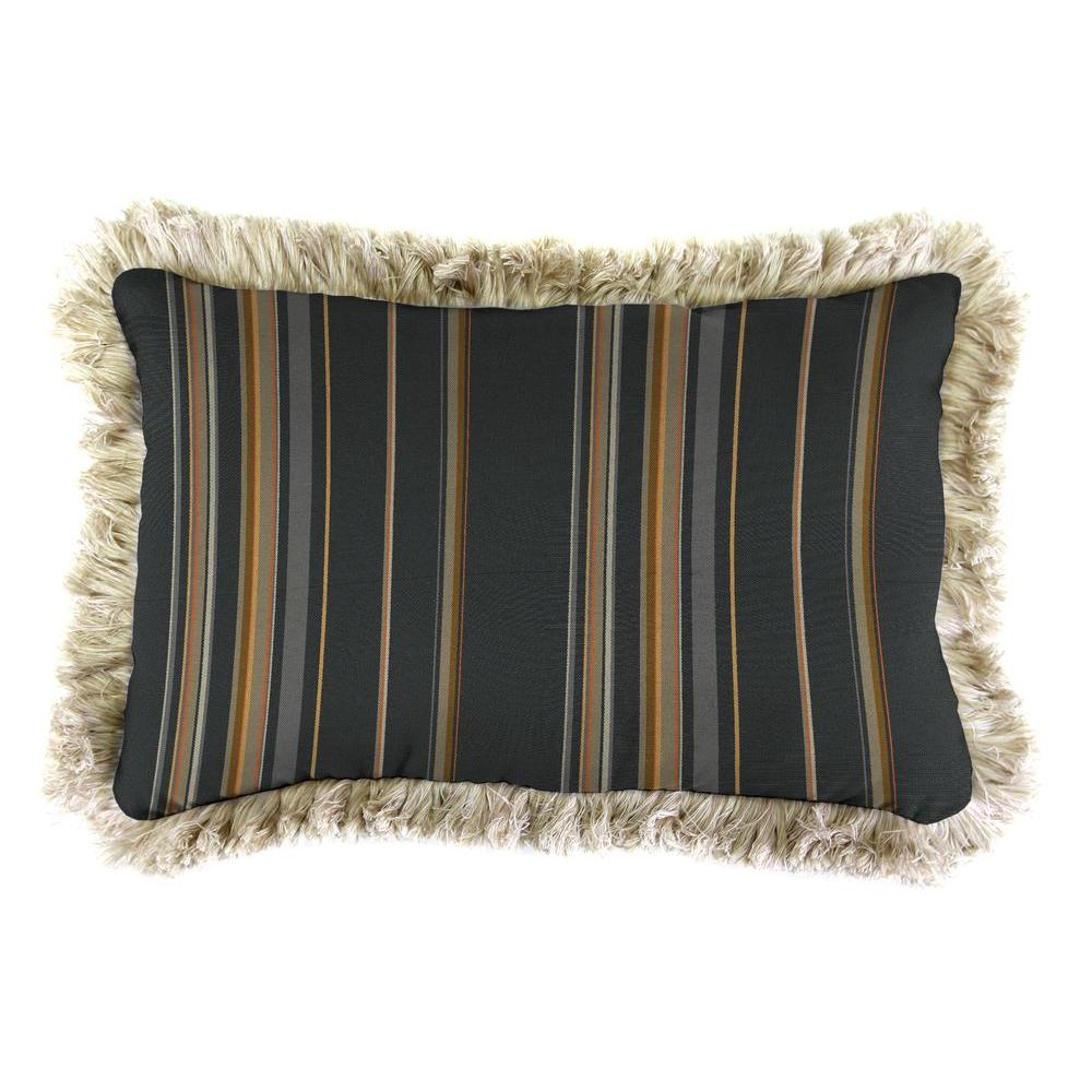 Jordan Manufacturing Sunbrella 9 in. x 22 in. Stanton Greystone Lumbar Outdoor Pillow with Canvas Fringe