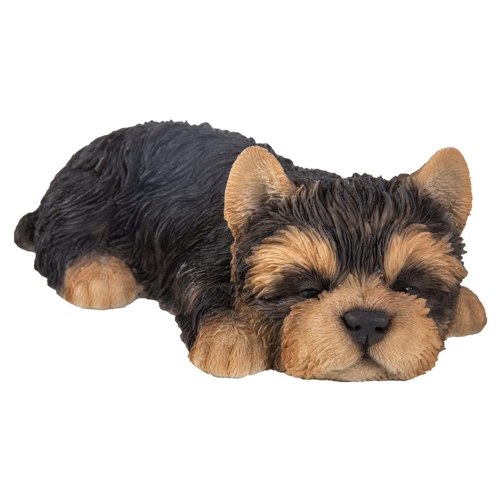 Lifelike Yorkshire Terrier Puppy Dog Sleeping In Wicker Basket Statue Yorkie Pet