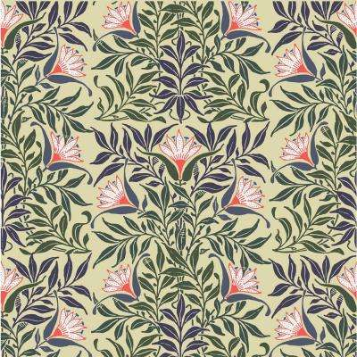 Debut Collection Flower Vine in Yellow/Green Removable and Repositionable Wallpaper
