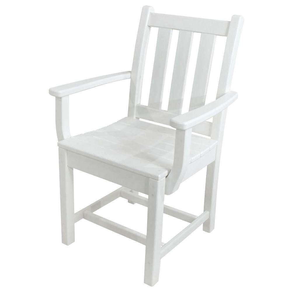 POLYWOOD Traditional Garden White All-Weather Plastic Outdoor Dining Arm Chair