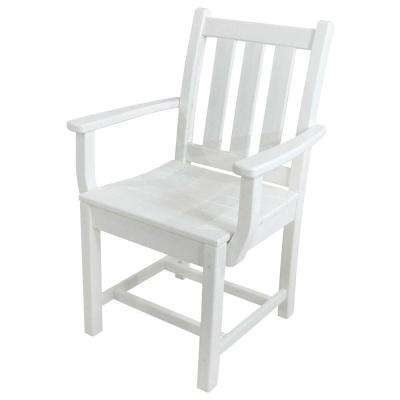 Traditional Garden White All Weather Plastic Outdoor Dining Arm Chair