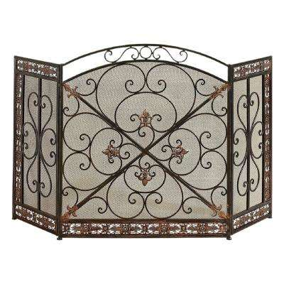 Fleur De Lis 3-Panel Iron Fireplace Screen