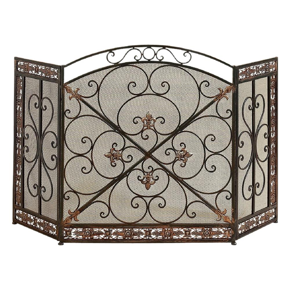 fleur de lis 3 panel iron fireplace screen 71822 the home depot