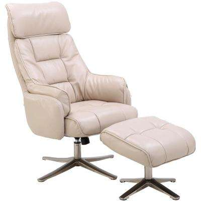 Parker Cream PU Leather Office Chair with Ottoman