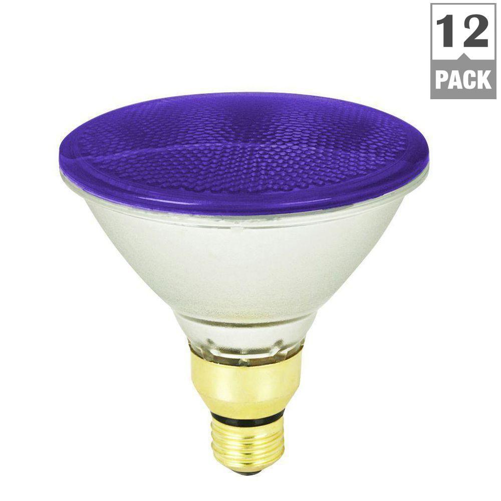 feit electric 90 watt purple colored par38 dimmable halogen light bulb case of 12 90par qfl p. Black Bedroom Furniture Sets. Home Design Ideas