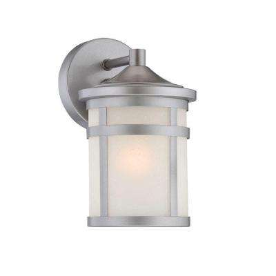 Visage Collection Wall Mount 1-Light Outdoor Brushed Silver Light Fixture