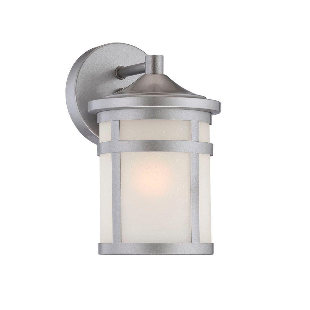 Austin 1-Light Brushed Silver Wall Lantern Sconce