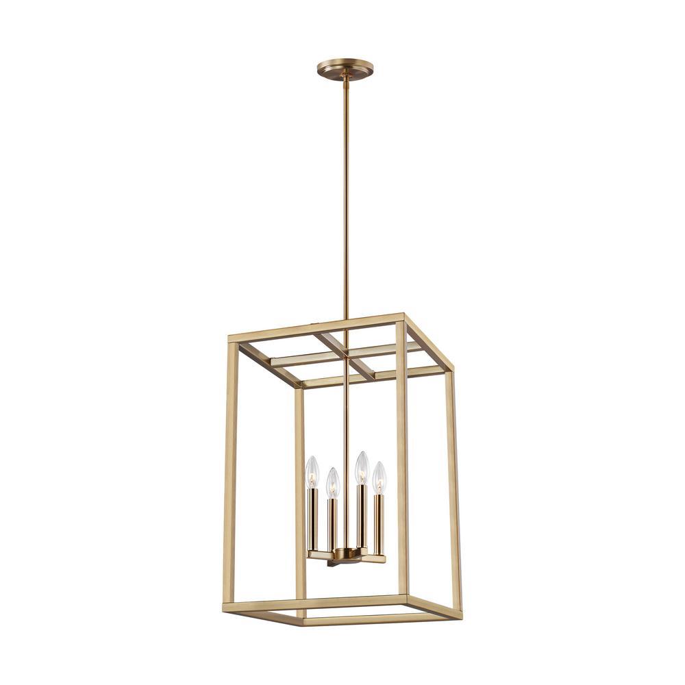 Sea Gull Lighting Moffet Street 4-Light Satin Bronze Hall-Foyer Pendant with Dimmable Candelabra LED Bulb