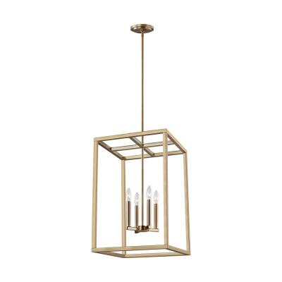 Moffet Street 4-Light Satin Bronze Hall-Foyer Pendant with Dimmable Candelabra LED Bulb
