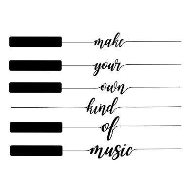 Black Own Kind of Music Decal Wall Art Kit