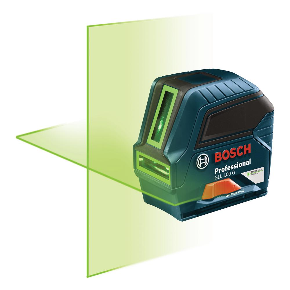 bosch 100 ft. self leveling cross line laser with visimax green beam