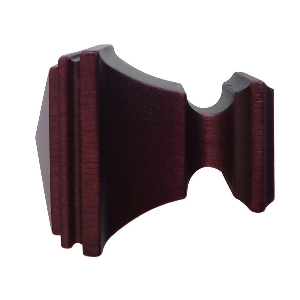 Martha Stewart Living 1-3/8 in. Wood Square Finial in Antique Mahogany