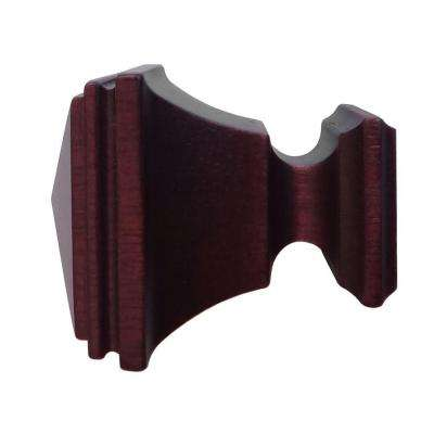 1-3/8 in. Wood Square Finial in Antique Mahogany