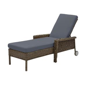 Laguna Point Brown Wicker Outdoor Patio Chaise Lounge with CushionGuard Sky Blue Cushions