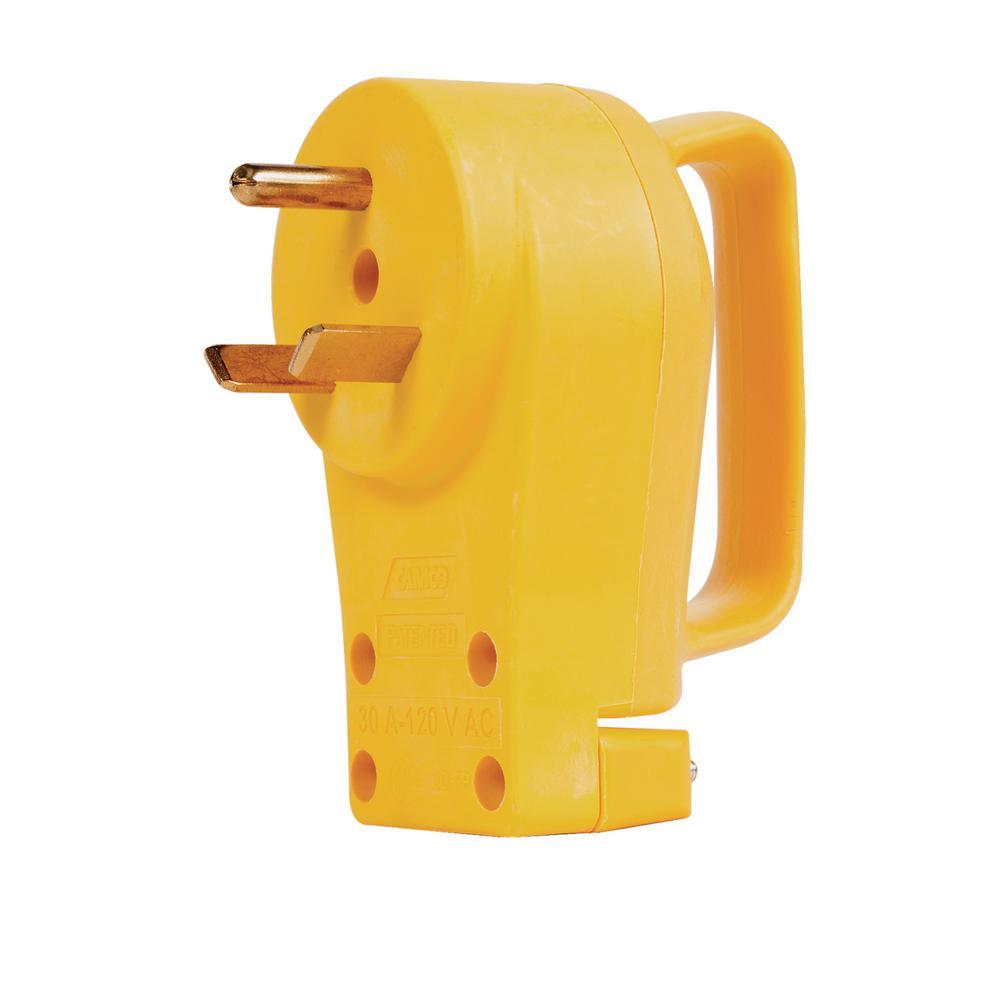 30 Amp Rv Plug >> Camco Rv Powergrip 30 Amp Replacement Plug 55245 The Home Depot
