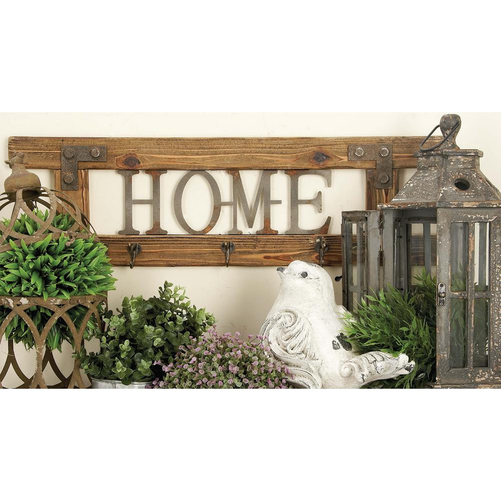 "32 in. x 10 in. ""Home"" Wood and Metal Wall Hook"