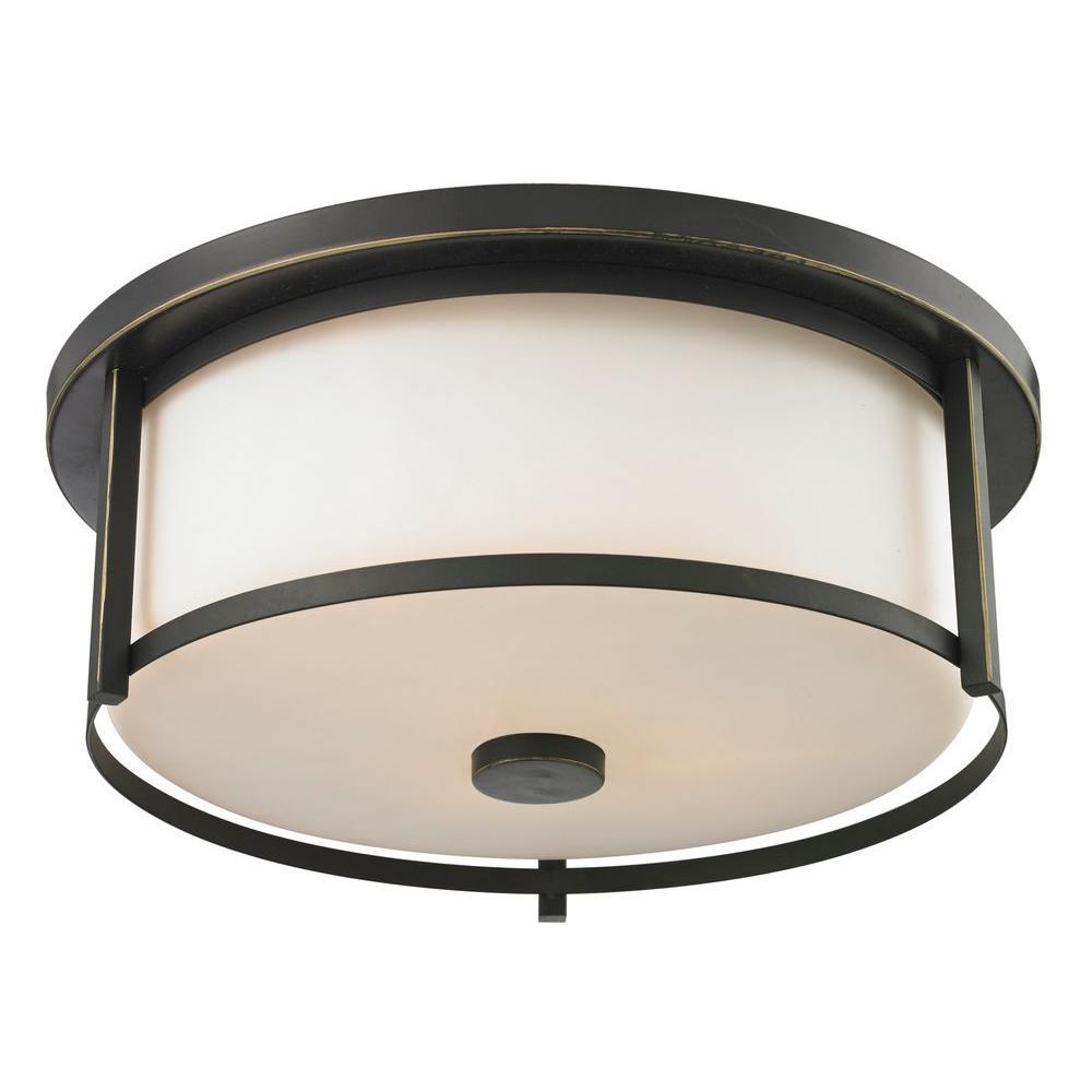 8655e5f59be5 Lacy 3-Light Bronze Steel Modern Flush Mount with Matte Opal Glass Shades
