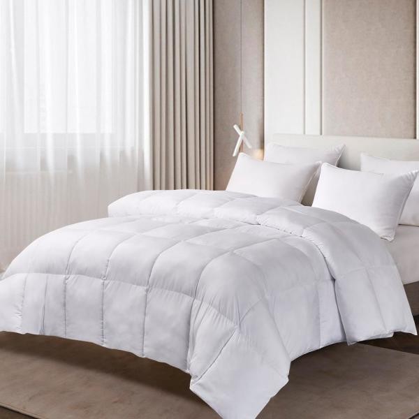 225TC Year Round Warmth White Full/Queen Size Tencel And Polyester Fiber Comforter