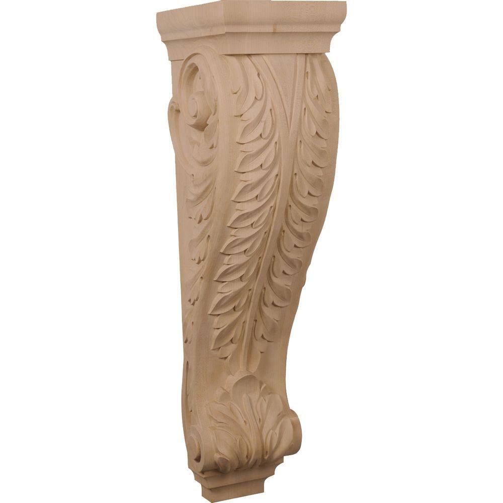 Ekena Millwork 10 in. x 9 in. x 34 in. Unfinished Red Oak Super Jumbo Acanthus Wood Corbel