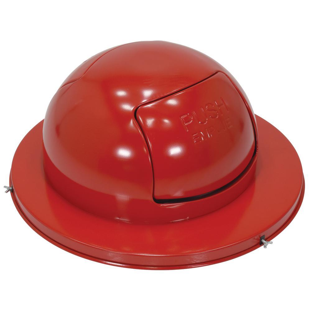 Steel Waste Disposal Top for Drum-Dual Door-Red