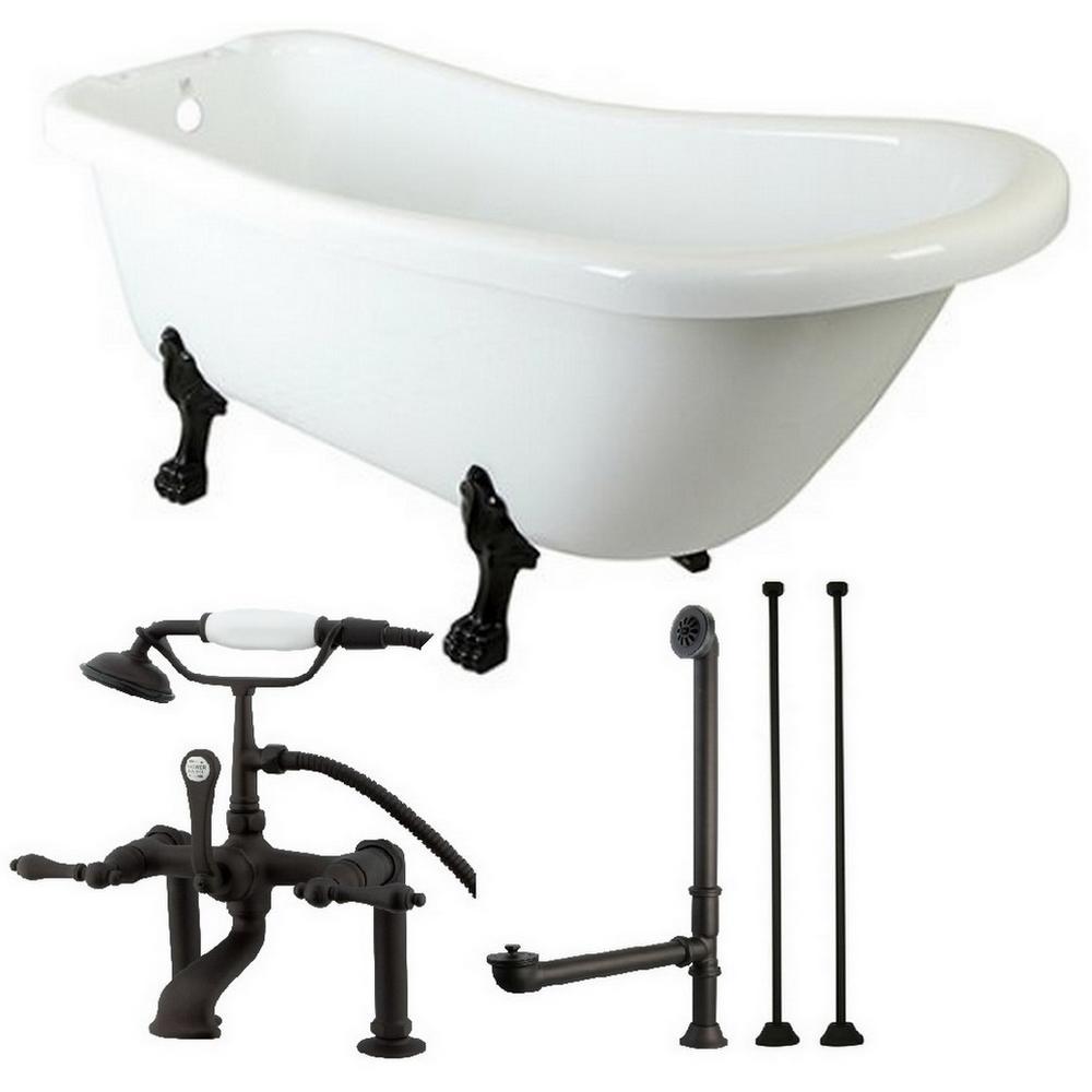 Aqua Eden Slipper 5.6 ft. Acrylic Clawfoot Bathtub in White and ...