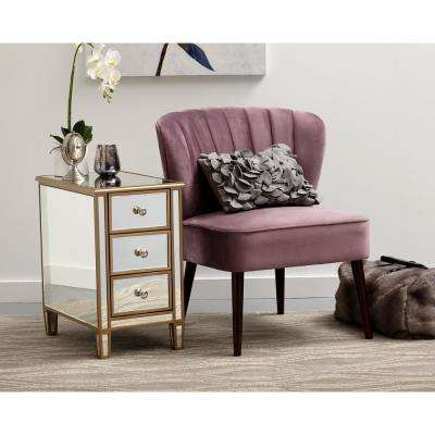 Channeled Back Armless Luxor Lilac Purple Accent Chair