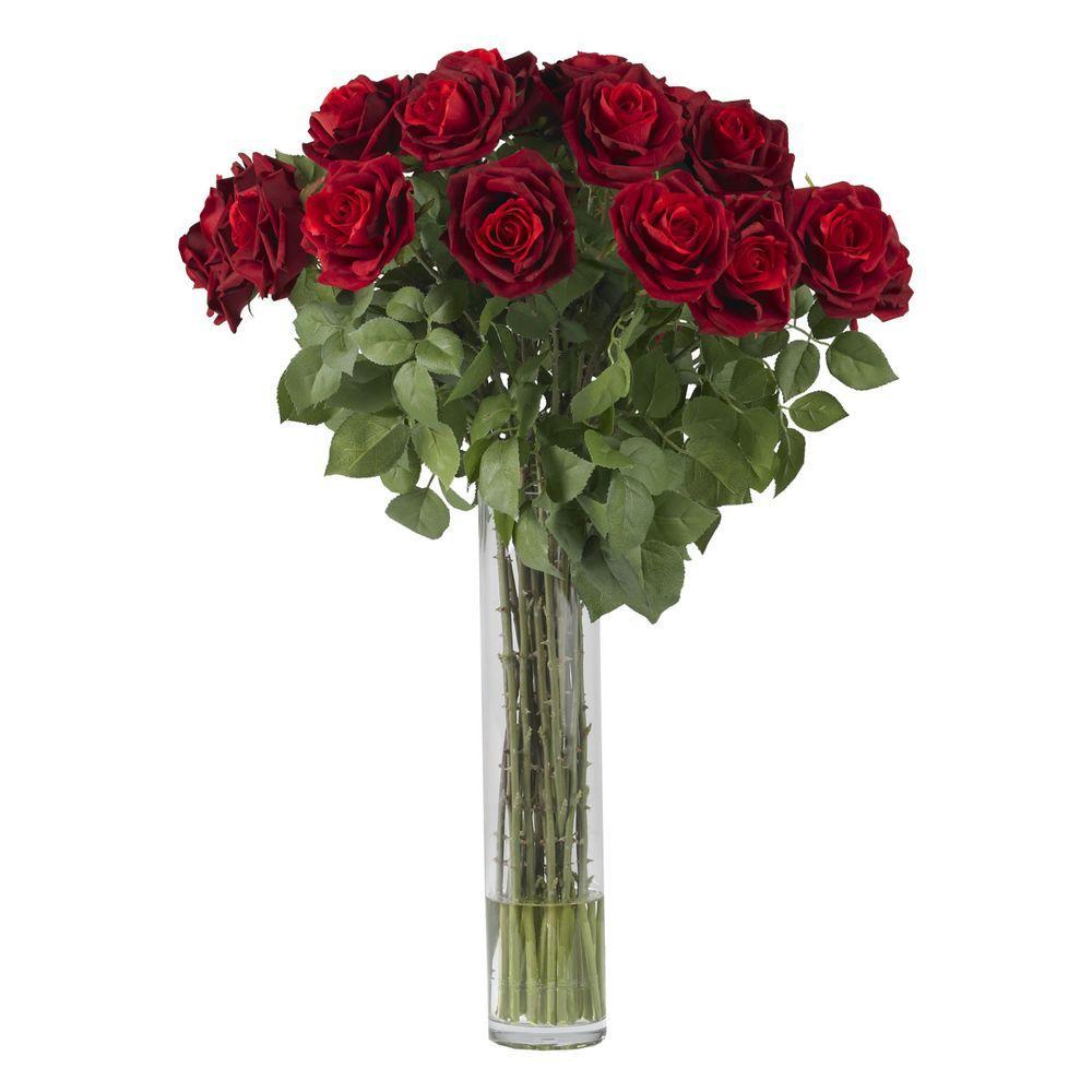 32 in. H Red Large Rose Silk Flower Arrangement