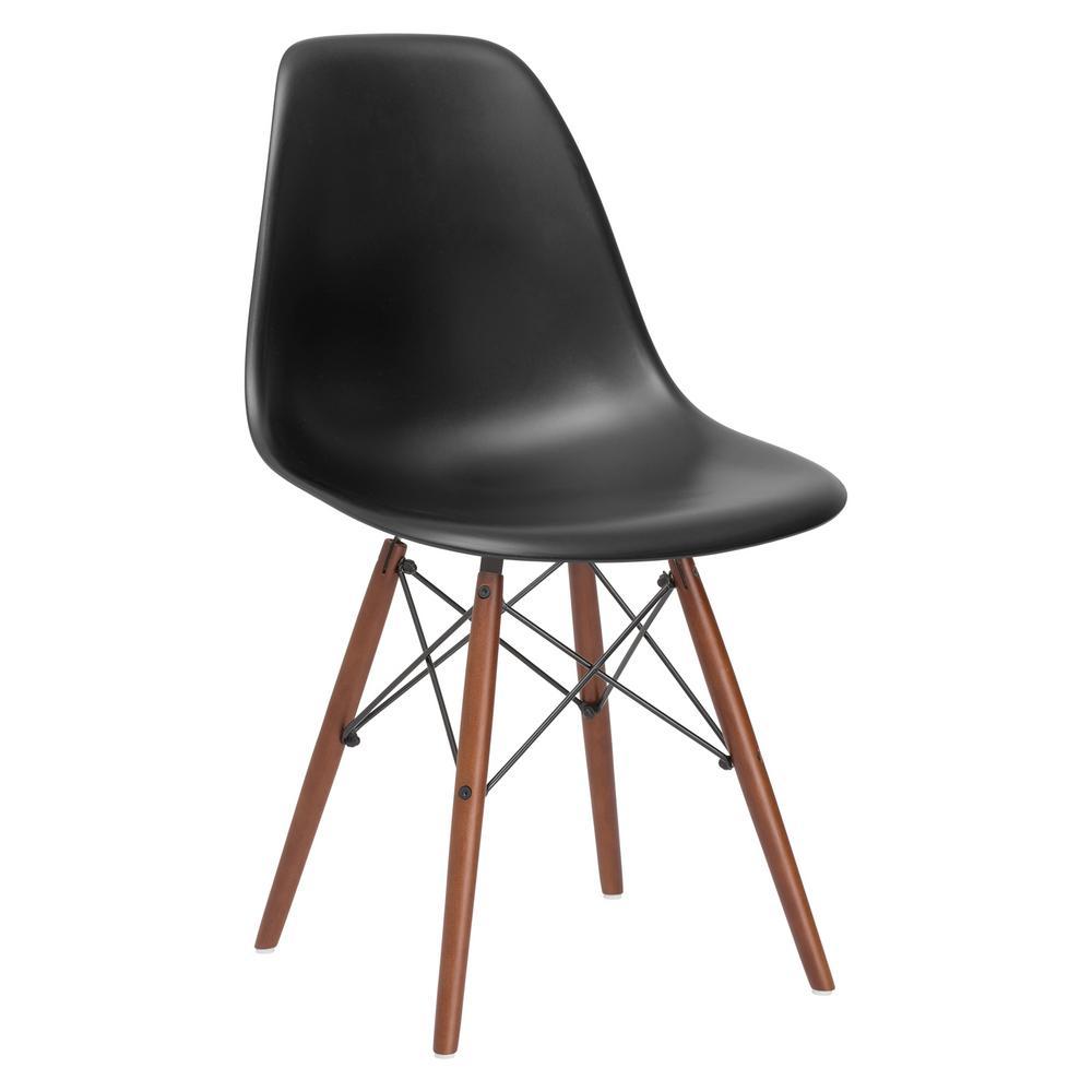 Poly and Bark Vortex Black Side Chair with Walnut Legs HD-105-WAL-BLK