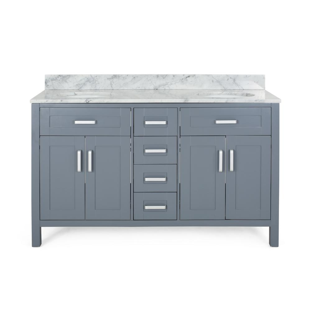 Noble House Greysen 60 in. W x 22 in. D Bath Vanity with Carrara Marble Vanity Top in Grey with White Basin
