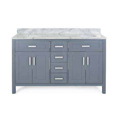 Greysen 60 in. W x 22 in. D Bath Vanity with Carrara Marble Vanity Top in Grey with White Basin