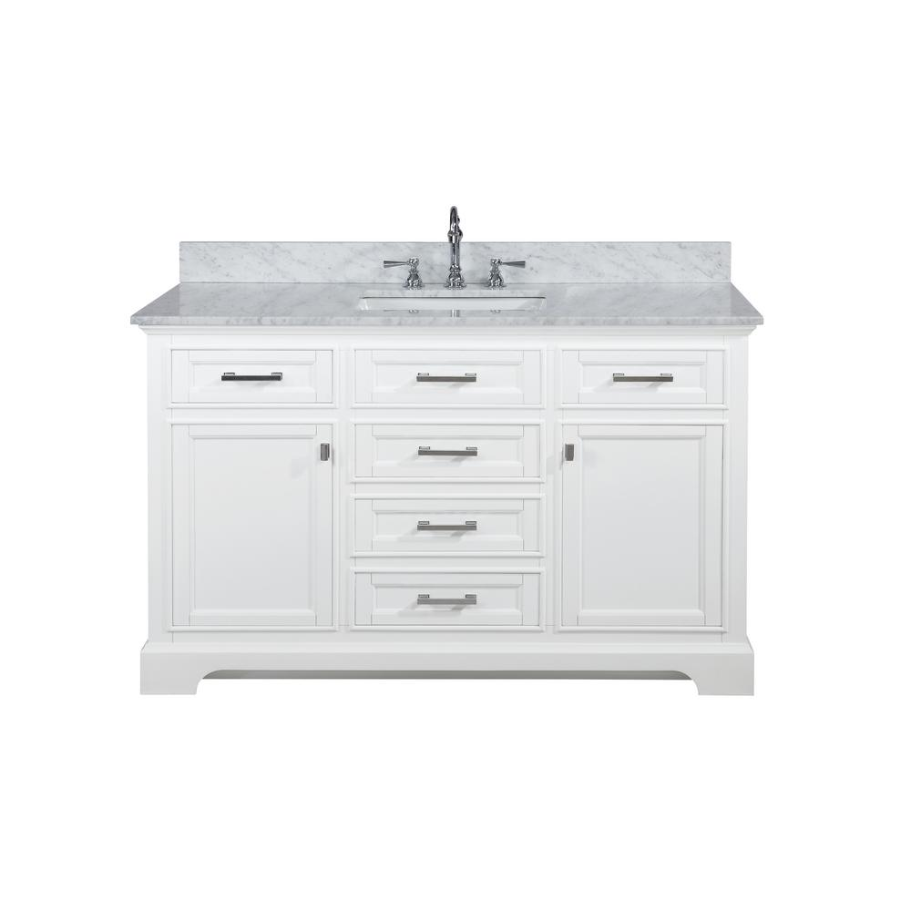 Reviews For Design Element Milano 54 In W X 22 In D Bath Vanity In White With Carrara Marble Vanity Top In White With White Basin Ml 54 Wt The Home Depot