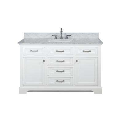 Milano 54 in. W x 22 in. D Bath Vanity in White with Carrara Marble Vanity Top in White with White Basin