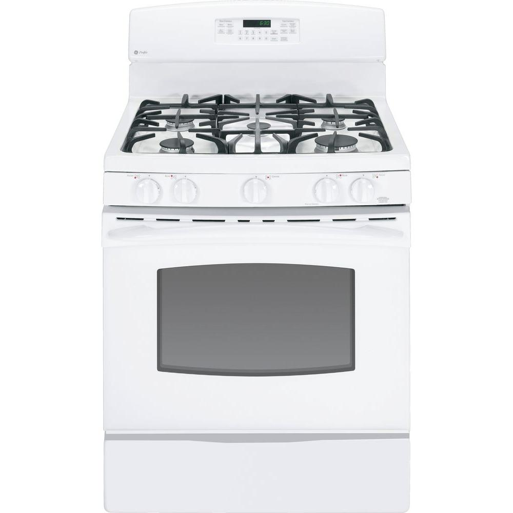GE Profile 5.4 cu. ft. Gas Range with Self-Cleaning Oven in White