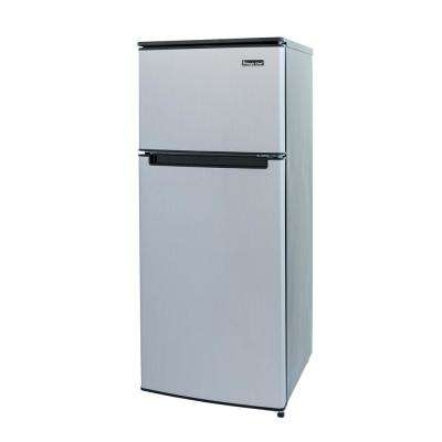 4.5 cu. ft. 2 Door Mini Fridge in Stainless Look with Freezer