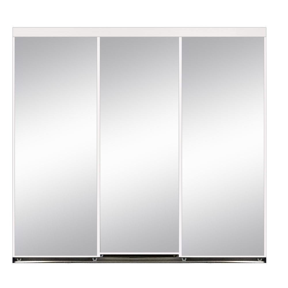 Polished Edge Mirror Gasket Framed Aluminum Interior Closet Sliding Door With White Trim