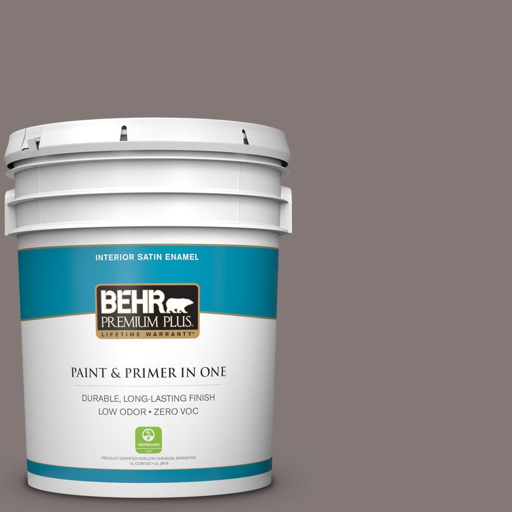 BEHR Premium Plus 5-gal. #N140-5 Complex Gray Satin Enamel Interior Paint
