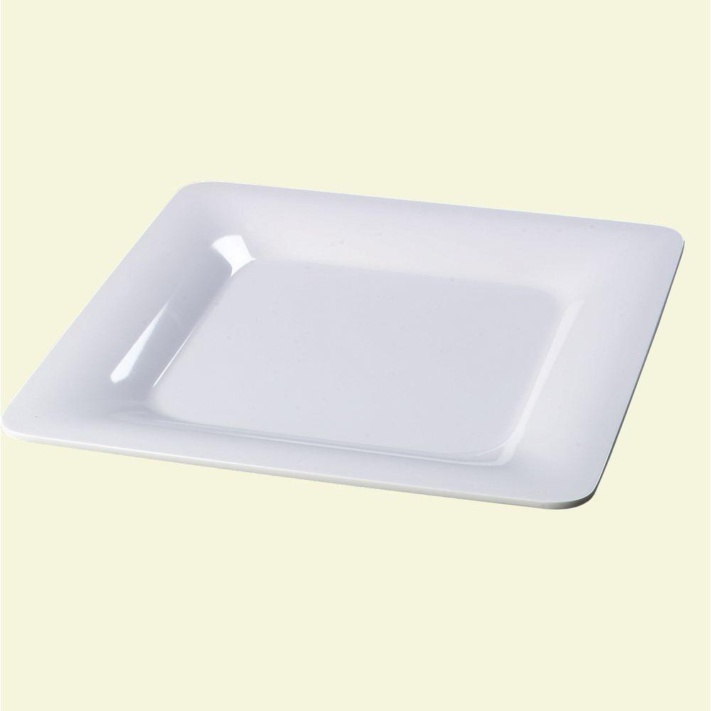 12 in. Square Melamine Designer Displayware Wide Rim Plate White (Case