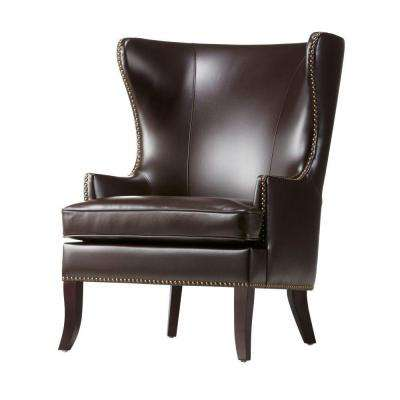 Moore Havana Brown Wing Back Accent Chair